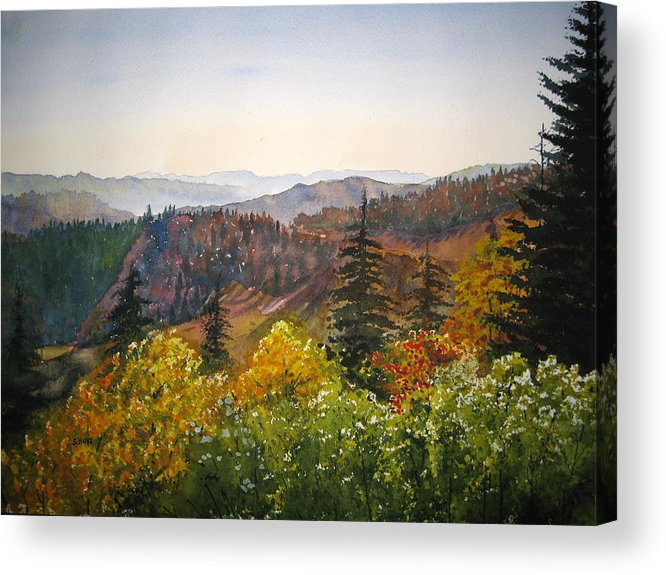 Newfound Gap Acrylic Print featuring the painting Newfound Gap by Shirley Braithwaite Hunt