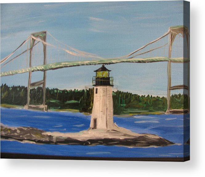 Lighthouse Acrylic Print featuring the painting Newport Sentinel by Dennis Poyant