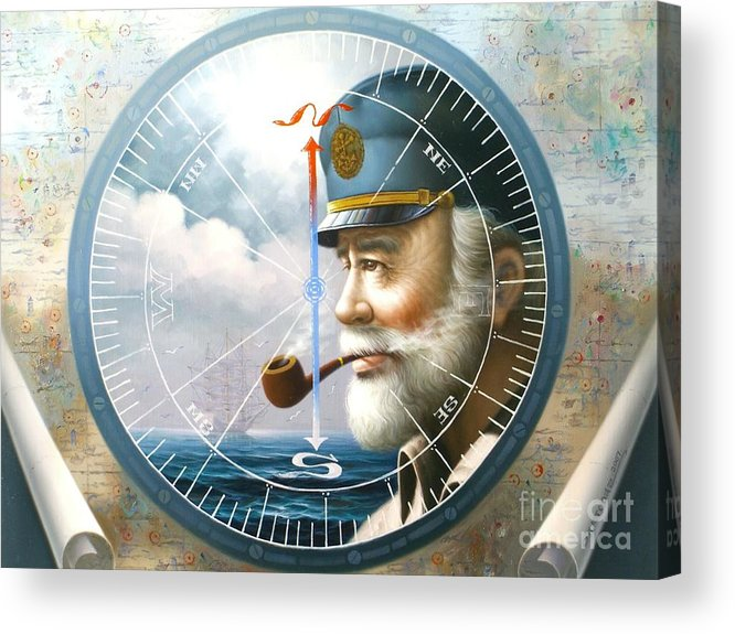 Sea Captain Acrylic Print featuring the painting News Map Captain Or Sea Captain by Yoo Choong Yeul