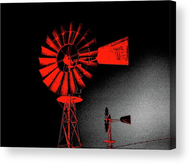 Windmill Acrylic Print featuring the digital art Nightwatch by Wendy J St Christopher
