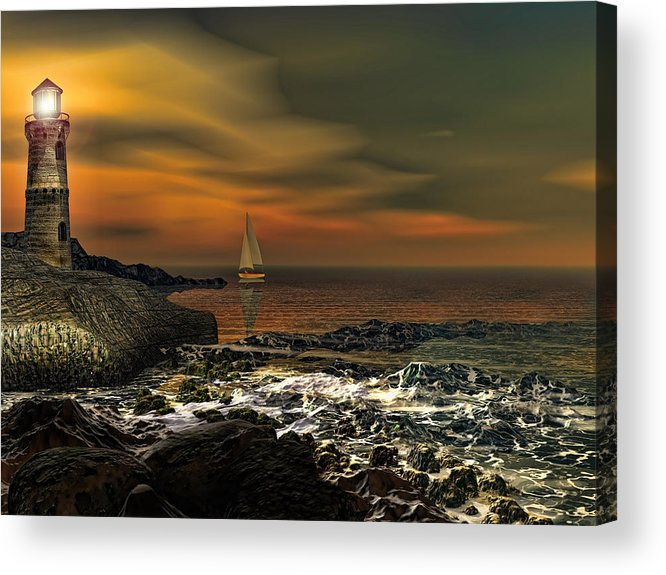 Lighthouse Acrylic Print featuring the photograph Nocturnal Tranquility by Lourry Legarde