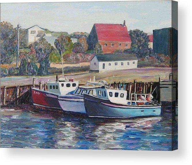 Nova Scotia Acrylic Print featuring the painting Nova Scotia Boats by Richard Nowak
