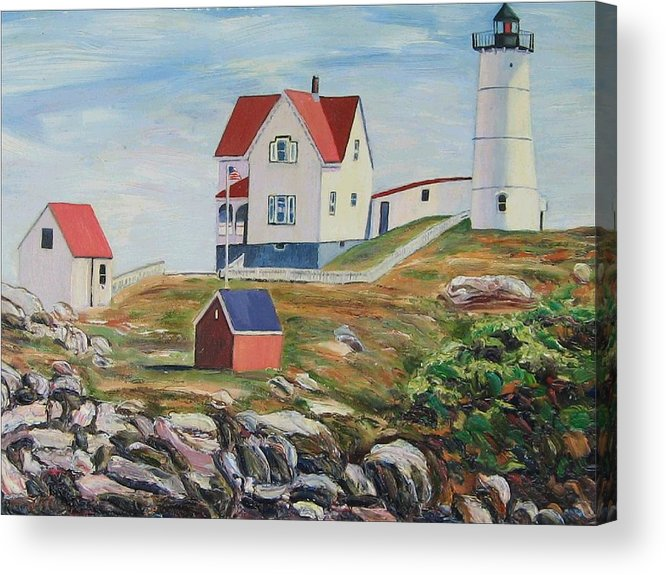 Nubble Light House Acrylic Print featuring the painting Nubble Light House Maine by Richard Nowak