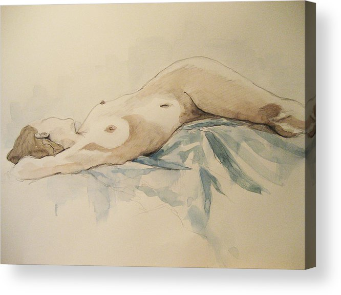 Nude Acrylic Print featuring the painting Nude 9 by Victoria Heryet