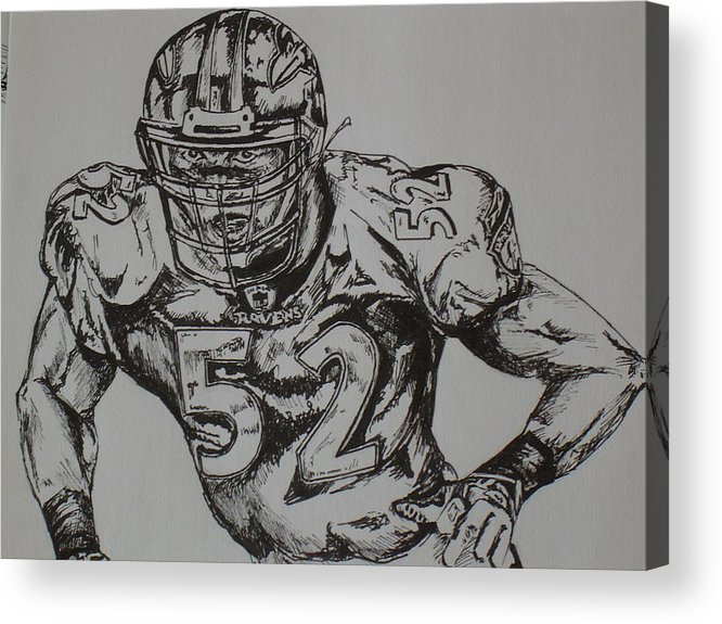 Sports Acrylic Print featuring the drawing Number 52 by Raymond Nash