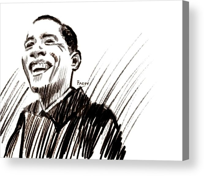 Barack Obama Acrylic Print featuring the drawing Obama by Michael Facey