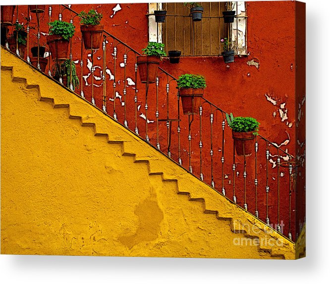 Darian Day Acrylic Print featuring the photograph Ochre Staircase With Red Wall 2 by Mexicolors Art Photography