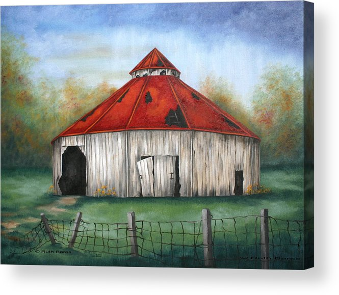Barn Acrylic Print featuring the painting Octagen Barn by Ruth Bares