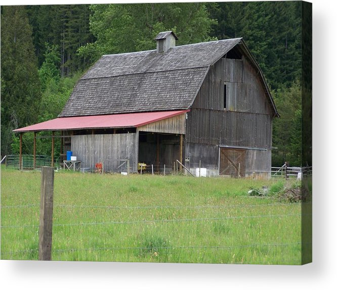 Barn Acrylic Print featuring the photograph Old Barn With Red Leanto Washington State by Laurie Kidd