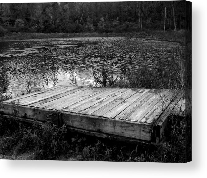 Indiana Landscape Acrylic Print featuring the photograph Old Dock At Dusk by Michael L Kimble