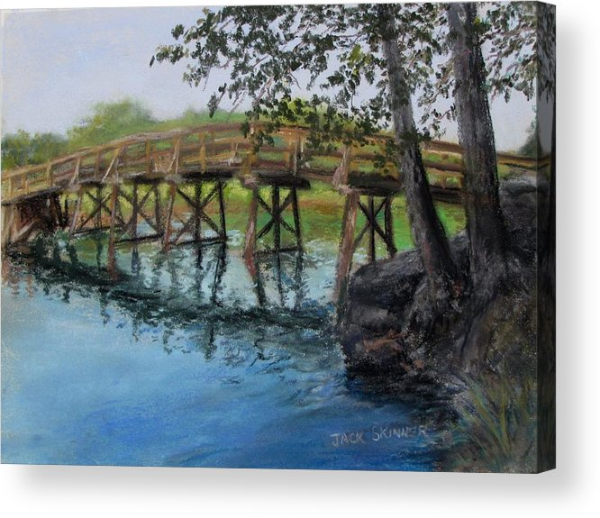 Pastel Acrylic Print featuring the painting Old North Bridge In Pastel by Jack Skinner