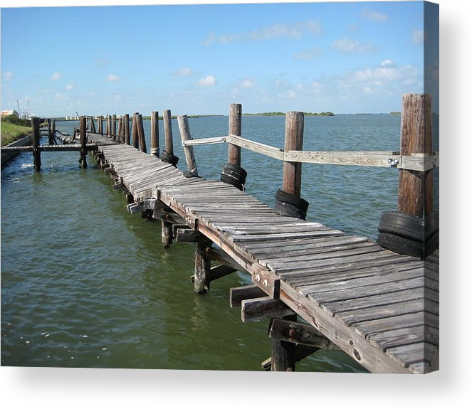 Marine Acrylic Print featuring the photograph Old Pier by Wendell Baggett