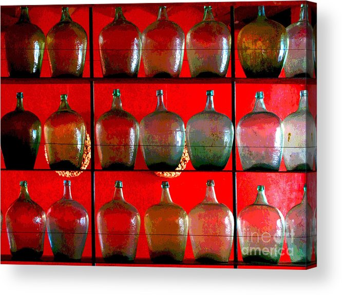 Darian Day Acrylic Print featuring the photograph Old Tequila Jugs By Darian Day by Mexicolors Art Photography
