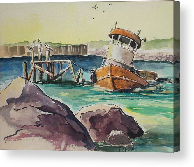 Seascape Acrylic Print featuring the painting Old Tug by Paul Choate