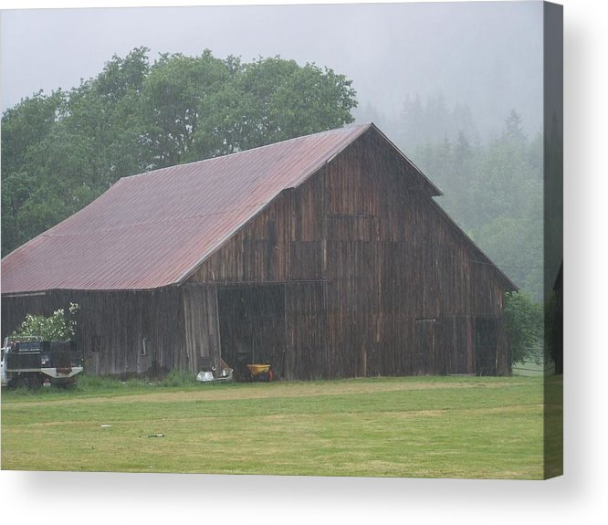 Barn Photography Acrylic Print featuring the photograph Old Wood Barn In The Mist Washington State by Laurie Kidd