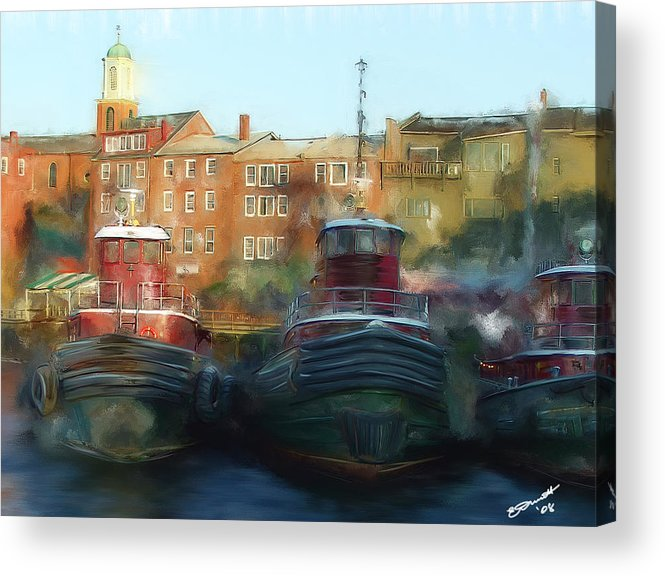 Nautical Tow Tug Boat Portsmouth Nh Atlantic Coast Harbor Sea Ocean Port Acrylic Print featuring the painting On Call by Eddie Durrett