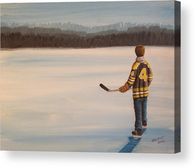 Bobby Orr Acrylic Print featuring the painting On Frozen Pond - Bobby by Ron Genest