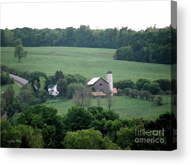 Hills Acrylic Print featuring the photograph On The Farm by Judy Waller