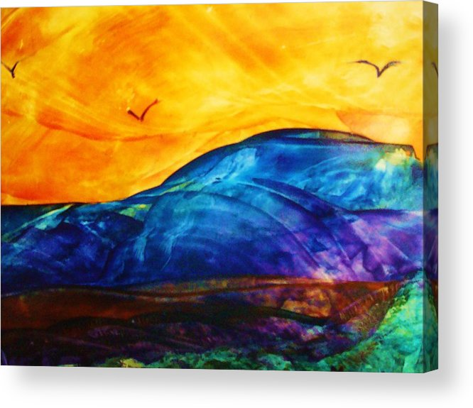 Landscape Acrylic Print featuring the painting One Fine Day by Melinda Etzold