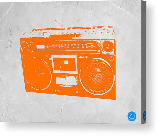 Acrylic Print featuring the painting Orange Boombox by Naxart Studio