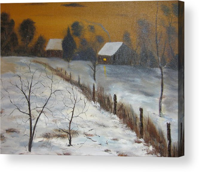 Landscape Acrylic Print featuring the painting Orange Night by Brian Hustead