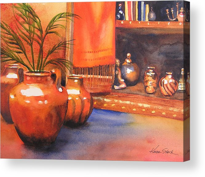 Pottery Acrylic Print featuring the painting Orange Scarf by Karen Stark