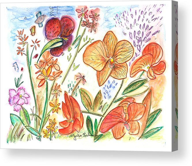 Flowers Acrylic Print featuring the painting Orchid No. 9 by Julie Richman