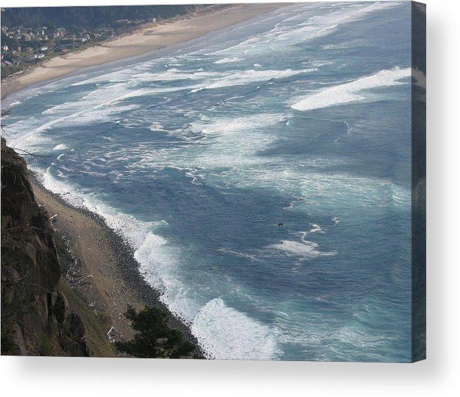 Acrylic Print featuring the digital art Oregon Coastline by Barb Morton