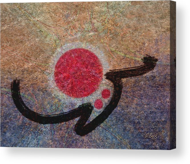 Brilliant Luminous Modern Colorful Vibrant Red Blue Gold Urban Contemporary Asian Japanese Oriental Design Sun Sunrise Sunset G. Acrylic Print featuring the painting Osaka Summer by Gordon Beck