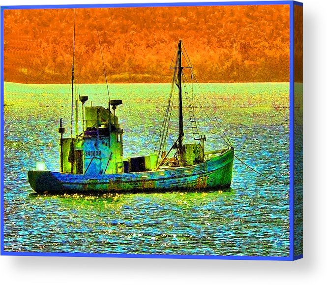 Fishing Boat Acrylic Print featuring the photograph p1030865001d Fishing Boat by Ed Immar