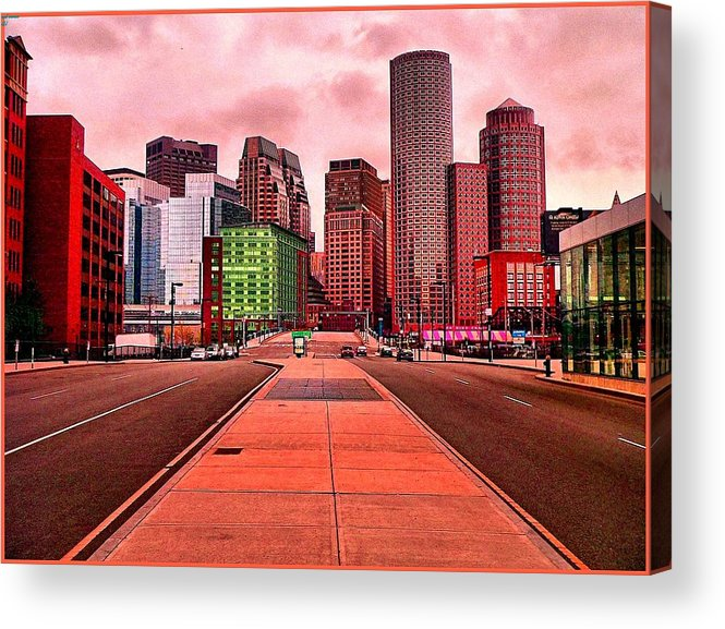 Cityscape Acrylic Print featuring the painting p1070558 Red City by Ed Immar