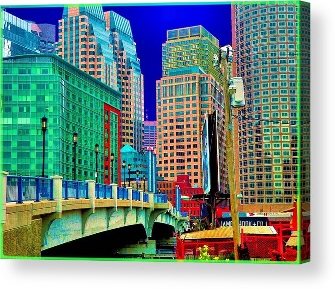 Cityscape Acrylic Print featuring the photograph p1070571b Boston Bridge by Ed Immar
