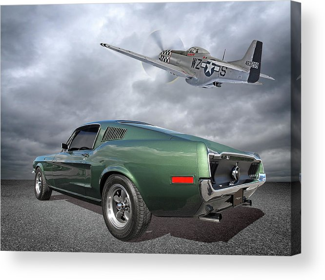 Ford Mustang Acrylic Print featuring the photograph P51 With Bullitt Mustang by Gill Billington