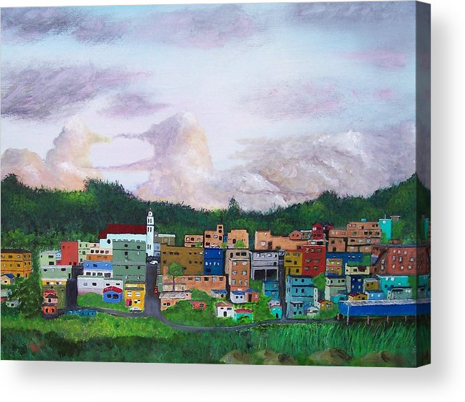 Painting The Town Acrylic Print featuring the painting Painting The Town by Tony Rodriguez