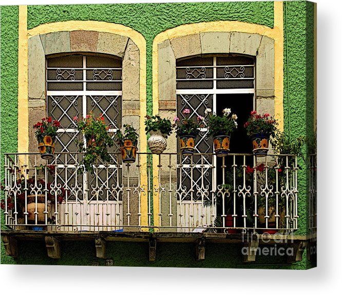 Darian Day Acrylic Print featuring the photograph Pair Of Windows In Green by Mexicolors Art Photography