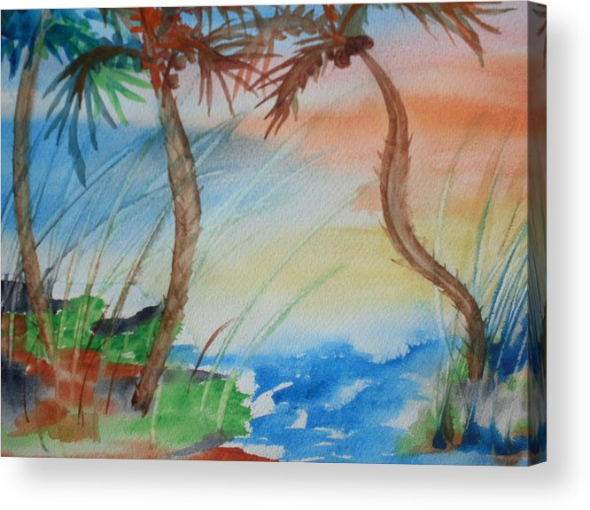 Palms Acrylic Print featuring the painting Palms At Sunset by Warren Thompson