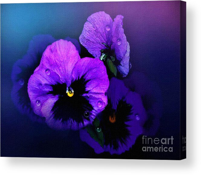 Pansy Acrylic Print featuring the painting Pansys by Robert Foster