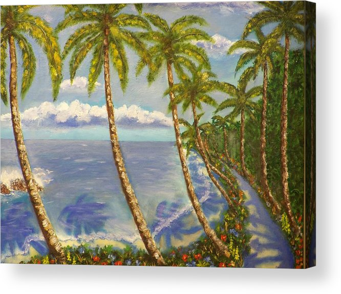 Landscape Acrylic Print featuring the painting Paradise Island by Charles Vaughn