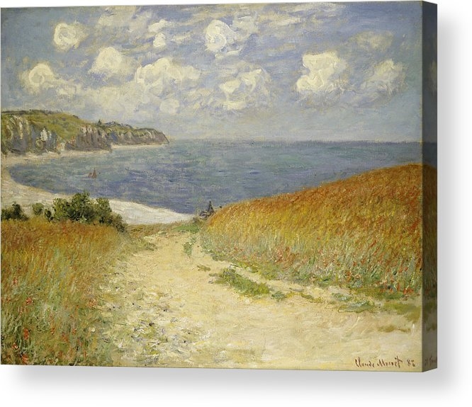 Path In The Wheat At Pourville Acrylic Print featuring the painting Path In The Wheat At Pourville by Claude Monet