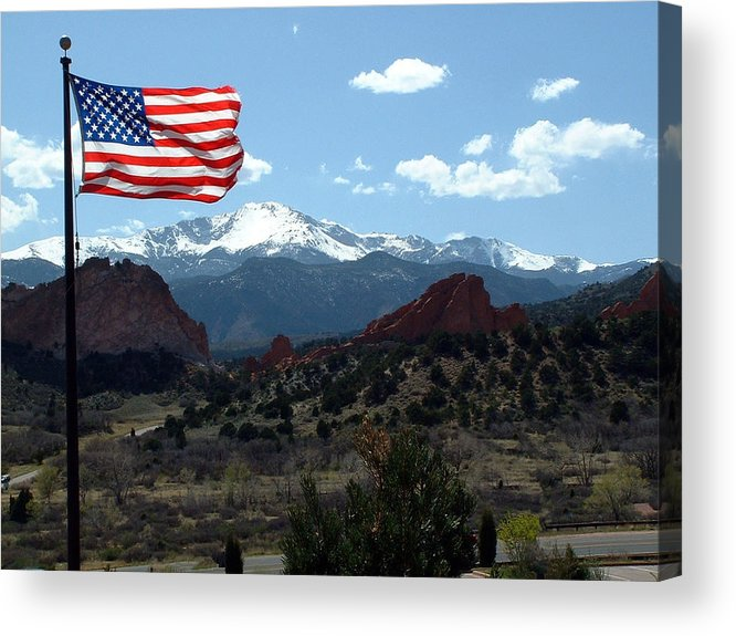 Flag Acrylic Print featuring the photograph Patriotism At Pikes Peak by Diane Wallace