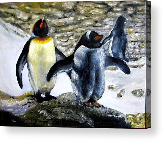 Oil On Canvas Acrylic Print featuring the painting Penguines Original Oil Painting by Natalja Picugina