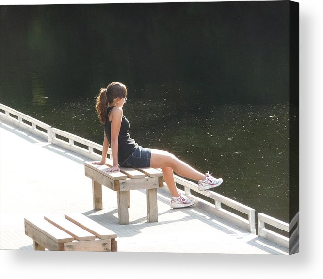 Pretty Girl Acrylic Print featuring the photograph Pensive by Ruth Kamenev