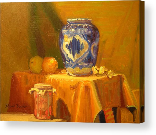 Still Life Acrylic Print featuring the painting Persian Vase And Fruit Jar by David Dozier