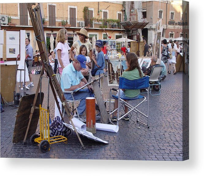 Piazza Navona Acrylic Print featuring the photograph Piazza Navona by Angel Ortiz