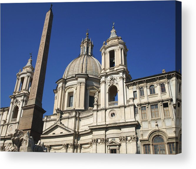Worthyness Egyptian Acrylic Print featuring the photograph Piazza Navona. Navona Place. Church St. Angnese In Agona And Egyptian Obelisk. Rome by Bernard Jaubert