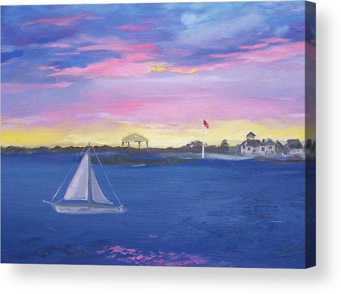 Pink Seascape Acrylic Print featuring the painting Pink Sunset by Georgeanne Wayman