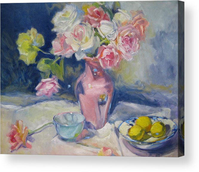 Roses Acrylic Print featuring the painting Pink Vase by Susan Jenkins