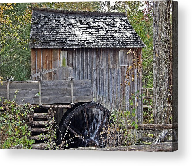 Pioneer Acrylic Print featuring the digital art Pioneer Water Mill by DigiArt Diaries by Vicky B Fuller