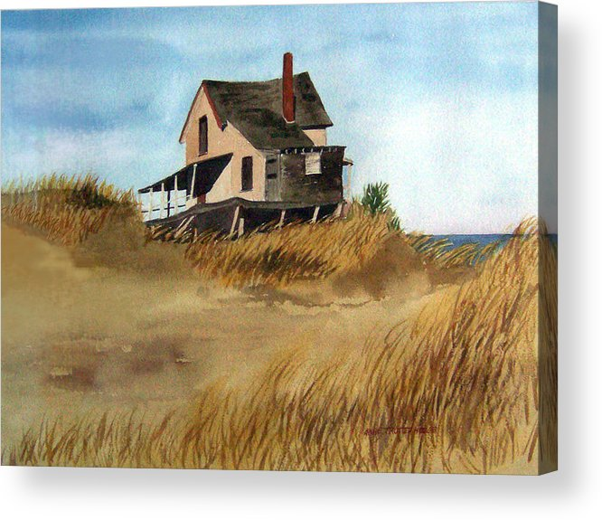 Landscape Acrylic Print featuring the print Plum Island Shack by Anne Trotter Hodge