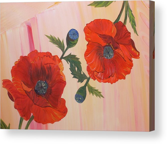 Flowers Acrylic Print featuring the painting Poppies In Love by Murielle Hebert